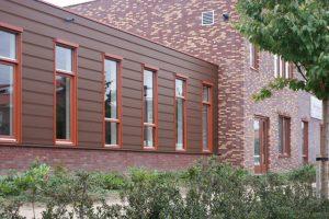 Keralit potdeksel bruin rood huis