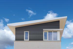 Keralit potdeksel grijs huis met blauwe lucht